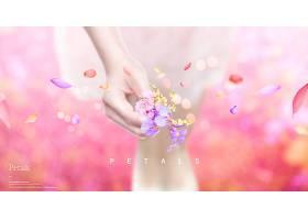 简洁粉色花卉花瓣年轻女子主题海报设计图片