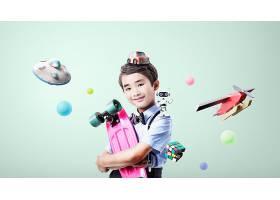 抱着滑板车的男孩主题人物海报设计