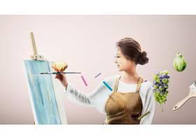 女性画家主题人物海报设计