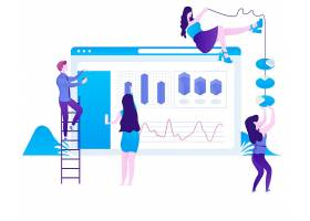 扁平化人物商務辦公主題網頁插畫設計