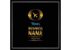 黑金飞机航空主题徽章图标LOGO设计