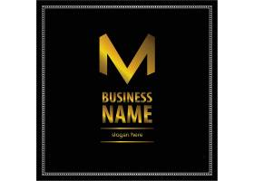 黑金字母M主题徽章图标LOGO设计