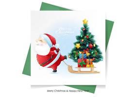 简约可爱的圣诞老人鹿和雪人圣诞节海报素材