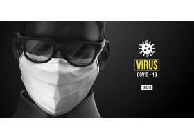 高檔大氣冠狀病毒患者在醫用口罩和病毒防護海報素材
