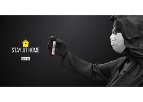 简约大气冠状病毒患者在医用口罩和病毒防护海报素材