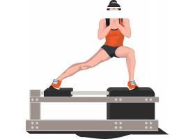 健身的人與健身設備素材
