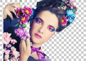 文艺清新花卉元素女性妆容