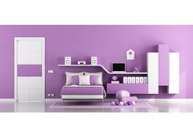 北欧风紫色时尚简洁卧室设计
