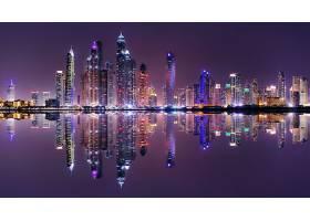 繁华商务金融城市夜景与倒影