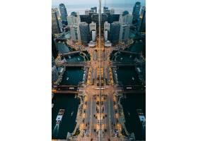 鸟瞰繁华商务金融城市道路