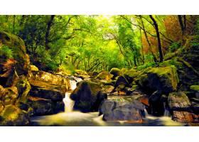 地球,瀑布,瀑布,绿色的,森林,自然,壁纸,(3)