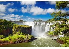 地球,瀑布,瀑布,岩石,树,绿色的,壁纸,(2)