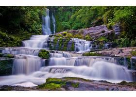地球,瀑布,瀑布,岩石,森林,树,绿色的,壁纸,(1)