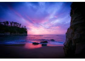 地球,日落,海滩,岩石,海洋,海,天空,紫色,地平线,壁纸,