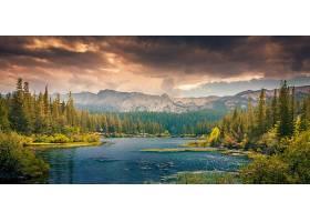 地球,湖,湖,天空,云,树,秋天,叶子,山,森林,壁纸,