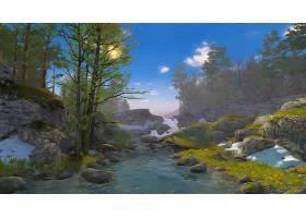 地球,溪流,艺术的,弹簧,壁纸,