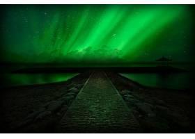 地球,曙光,北极星,夜晚,天空,地平线,明星,绿色的,壁纸,