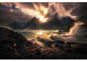 地球,海岸线,自然,波浪,岩石,风景,山,阳光,云,壁纸,