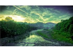 地球,河,山,森林,树,绿色的,壁纸,(1)