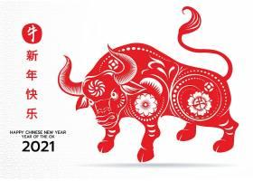 2021红色剪纸牛年新年快乐海报设