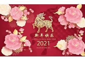 红色喜庆背景花卉2021牛年新年快乐主题海报设计图片