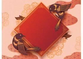 大气精致的剪纸风中国年鸟类花卉底纹主题背景