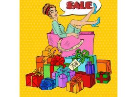 美式漫画风女性购物促销礼物主题插画设计