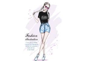 马克笔风格手绘现代时尚潮流女性插画设计