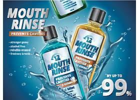 爱牙护牙清新口气漱口水主题产品展示海报设计