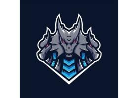 恶魔龙主题游戏徽章图标LOGO设计