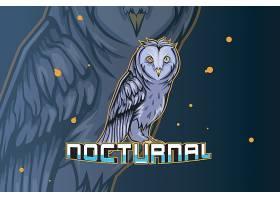 猫头鹰主题游戏徽章图标LOGO设计
