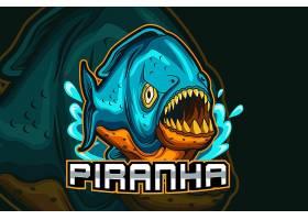 食人鱼主题游戏徽章图标LOGO设计