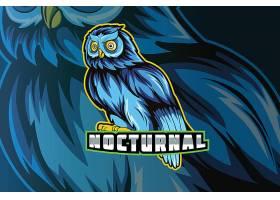 蓝色猫头鹰主题游戏徽章图标LOGO设计