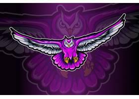 紫色猫头鹰展翅主题游戏徽章图标LOGO设计