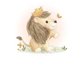 可爱的狮子宝宝卡通插画设计图片