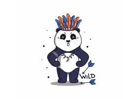 熊猫酋长卡通插画设计