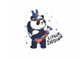 射箭的熊猫酋长卡通插画设计