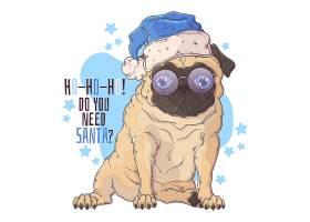 蓝色圣诞帽沙皮狗卡通插画设计