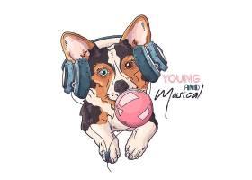 戴耳机吃口香糖的宠物狗卡通插画设计
