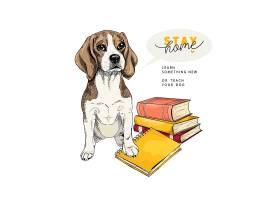 宠物狗卡通插画设计
