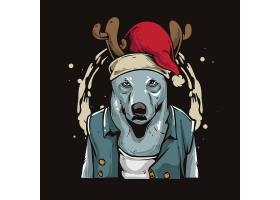圣诞节驯鹿拟人化卡通形象插画设计