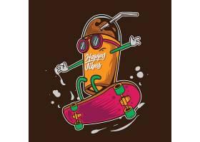 花瓣果汁杯拟人化卡通形象插画设计