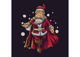 圣诞节老人拟人化卡通形象插画设计