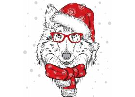 圣诞节宠物狗插画设计
