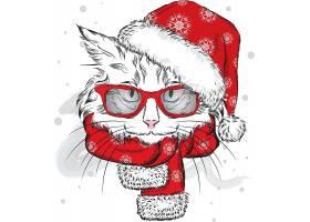 圣诞节宠物猫插画设计