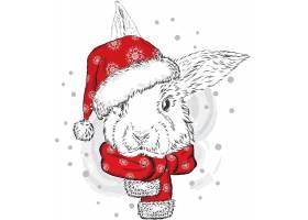 圣诞节兔子插画设计