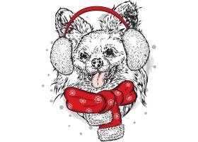 系围巾的狗狗插画设计