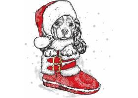 红色雪地靴戴圣诞帽的狗狗插画设计
