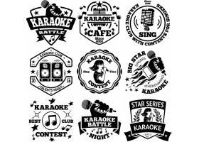 KTV唱歌麦克风音乐主题标签标贴设计