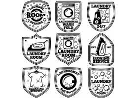 熨斗衣服洗涤主题标签标贴设计